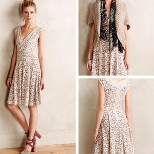 Anthropologie Maeve Brushed Lace Dress Floral Boho